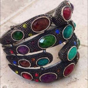 Jewelry - Silver Gemstone Crystal Hinged Cuff Bracelet